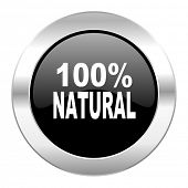 natural black circle glossy chrome icon isolated