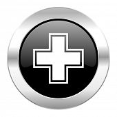 pharmacy black circle glossy chrome icon isolated