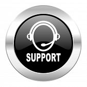 support black circle glossy chrome icon isolated
