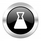 laboratory black circle glossy chrome icon isolated