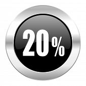 20 percent black circle glossy chrome icon isolated
