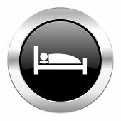 hotel black circle glossy chrome icon isolated