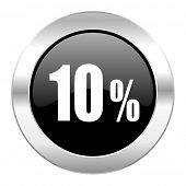 10 percent black circle glossy chrome icon isolated