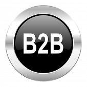 b2b black circle glossy chrome icon isolated