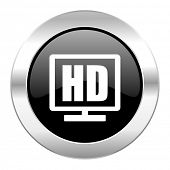 hd display black circle glossy chrome icon isolated