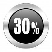30 percent black circle glossy chrome icon isolated