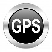 gps black circle glossy chrome icon isolated