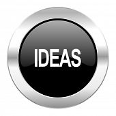 ideas black circle glossy chrome icon isolated