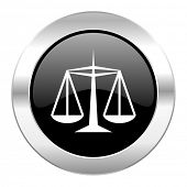 justice black circle glossy chrome icon isolated