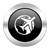 travel black circle glossy chrome icon isolated