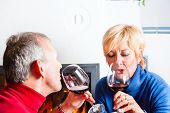 Senior couple having fun clinking glasses with red wine in a romantic setting in front of a fireplace