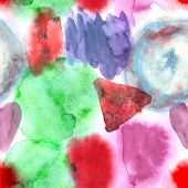 Abstract Watercolor Art Hand Paint Seamless Pattern On White Background. Watercolor Stains.