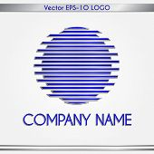 Vector abstract company name blue and silver round logo