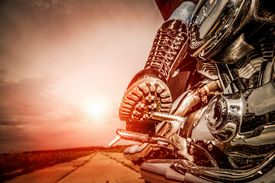 pic of biker  - Biker girl riding on a motorcycle - JPG