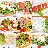 stock photo of cucumber  - Various salads collage including mix salads caprese salads olivier salad warm salad with tuna and salad with cucumber and garlic sour cream sauce - JPG