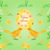 picture of bird egg  - Seamless texture easter eggs and birds spring background vector illustration - JPG