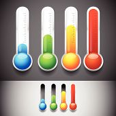 picture of freezing temperatures  - Eps 10 vector Illustration of Thermometer templates - JPG