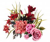 Постер, плакат: Bouquet Of Roses Peonies And Liliesbouquet Of Roses Peonies And Lilies