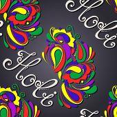 image of holi  - Vector Seamless Ornate Holi Background - JPG