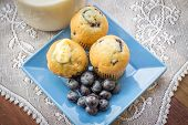 picture of fresh start  - Fresh from the oven blueberry muffins with butter - JPG
