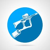 picture of hopper  - Single round blue vector icon with white silhouette paintball marker on gray background with long shadow - JPG