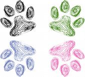 Постер, плакат: Colorful Sketch Drawing of Four Animal Paw Prints