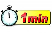 pic of stopwatch  - illustration of one minute stopwatch design icon - JPG
