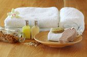 picture of pumice-stone  - Spa setting with towels - JPG