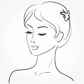 stock photo of black woman spa  - Beautiful young woman sketch - JPG