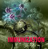 picture of immune  - Human Immune System attack the virus made in 3d software - JPG