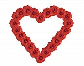 stock photo of heartfelt  - Frame in the form of heart from flowers of a red rose - JPG
