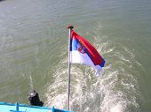 flag of Serbia from the boat poster