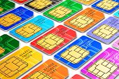 foto of micro-sim  - Group of color SIM cards for mobile phone or smartphone isolated on white background - JPG