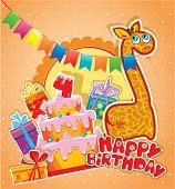 Постер, плакат: Baby Birthday Card With Girafe Big Cake And Gift Boxes Four Years Anniversary