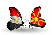 image of macedonia  - Two butterflies with flags on wings as symbol of relations Egypt and Macedonia - JPG