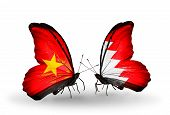 pic of bahrain  - Two butterflies with flags on wings as symbol of relations Vietnam and Bahrain - JPG