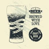 picture of drawing beer  - Typography vintage grunge style beer poster with glass of beer - JPG