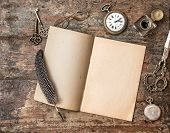 image of inkwells  - Open book and vintage writing on wooden table - JPG