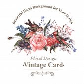 picture of rose  - Vintage Watercolor Greeting Card with Blooming Flowers and Birds - JPG