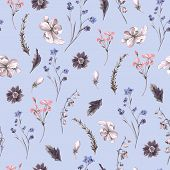 picture of wildflowers  - Vintage Floral Seamless Background with Wildflowers - JPG