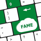 stock photo of eminent  - business concept Computer Keyboard with Fame Key - JPG