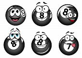 picture of pool ball  - Funny smiling pool and billiard balls characters set for mascot or sports design - JPG