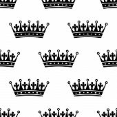 foto of queen crown  - Royal heraldic seamless pattern with king or queen black crowns on white background - JPG