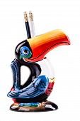 pic of toucan  - a brazilian toucan shaped ceramic pencil holder isolated over a white background - JPG