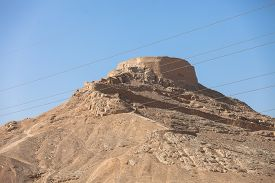 image of zoroastrianism  - tower of silence Yazd Zoroastrian tradition considered a dead body to be nasu unclean - JPG