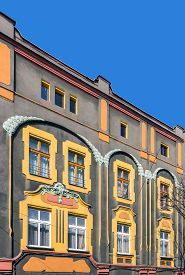 picture of tenement  - Facade of an Art Noveau tenement in Tarnowskie Gory - JPG