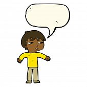 stock photo of annoying  - cartoon annoyed boy with speech bubble - JPG