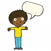 foto of open arms  - cartoon happy boy with open arms with speech bubble - JPG