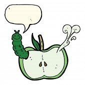 pic of caterpillar cartoon  - cartoon apple with bug with speech bubble - JPG
