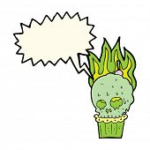 picture of spooky  - cartoon spooky skull cupcake with speech bubble - JPG